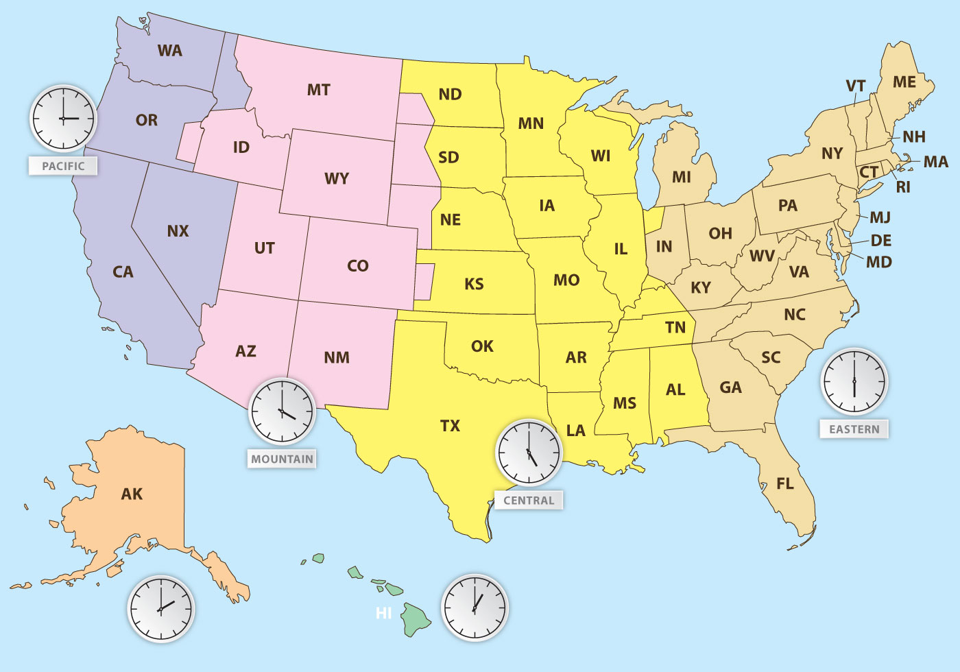 Us Time Zones Map With Clocks Sd Us Time Zone Map Time In United States